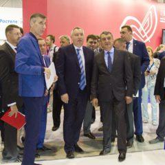 Заместитель Председателя Правительства РФ Д.О. Рогозина и Губернатор Новосибирской области В.Ф. Городецкий посетили стенд ГК